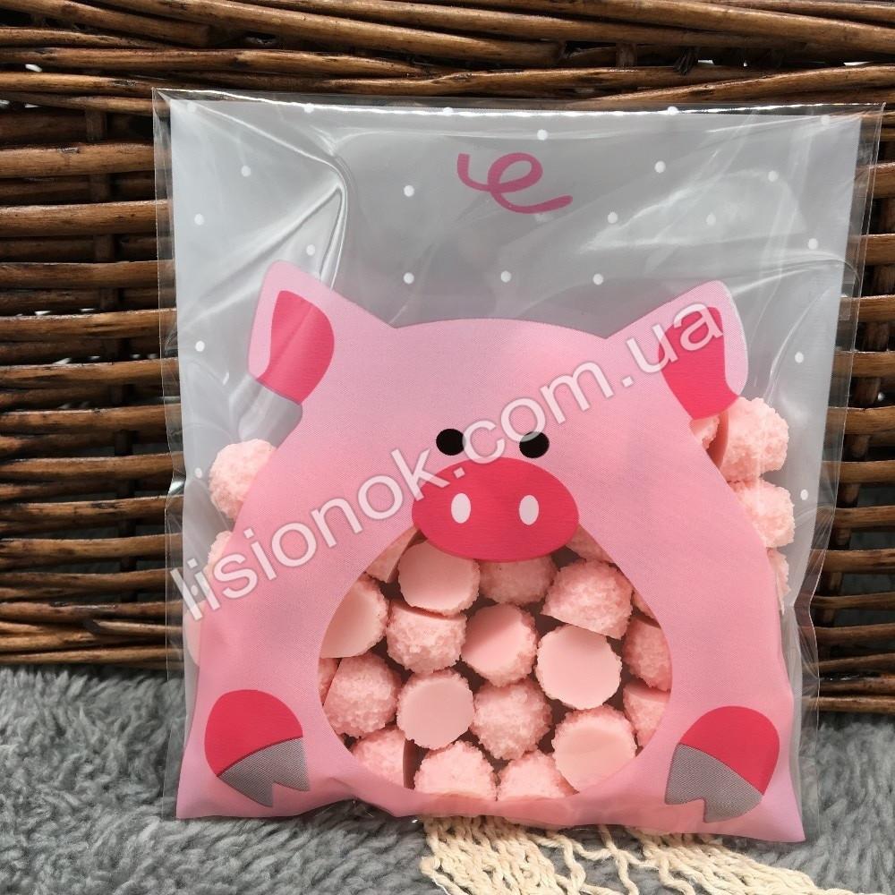 Упаковочный пакет свинка 10смХ10см, для подарков, сладостей и и Hand-made изделий