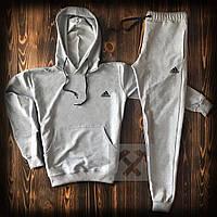 Спортивный костюм с кофтой худи серого цвета Adidas топ-реплика