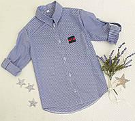Рубашка на девочку, р. 128-146, полоска, синий, фото 1