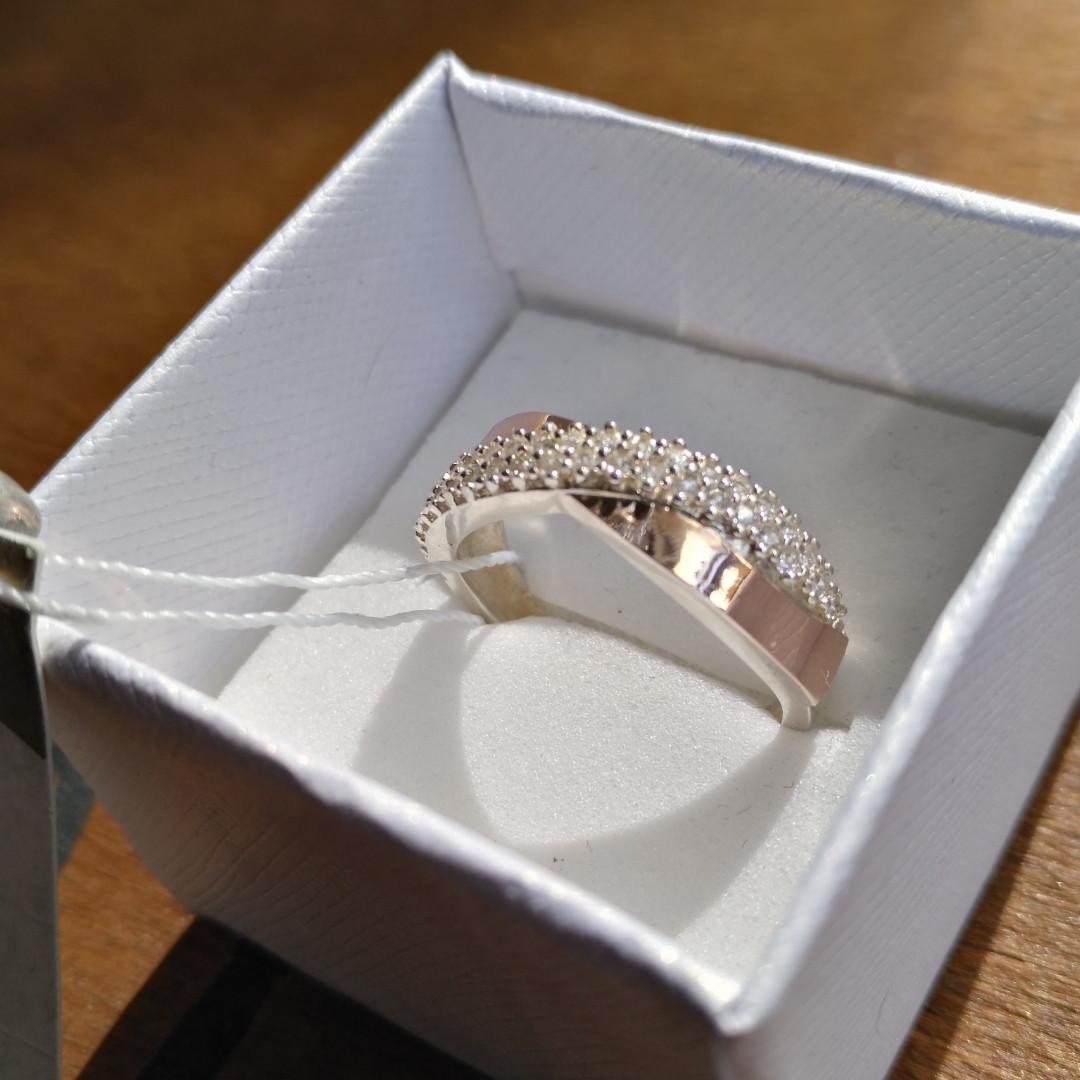 Кольцо Ева серебро с золотом
