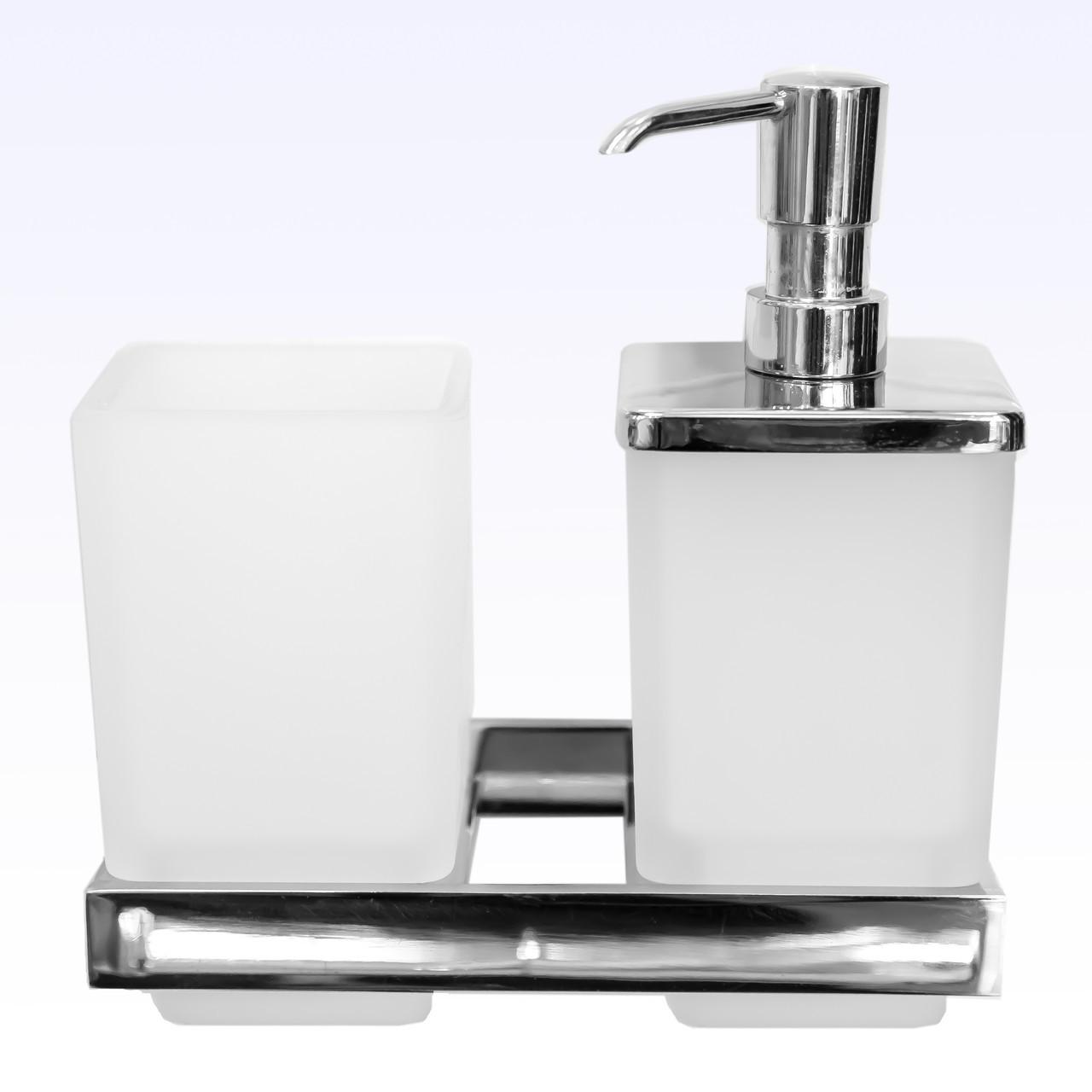 Дозатор жидкого мыла с стаканом для зубных щёток  В 029