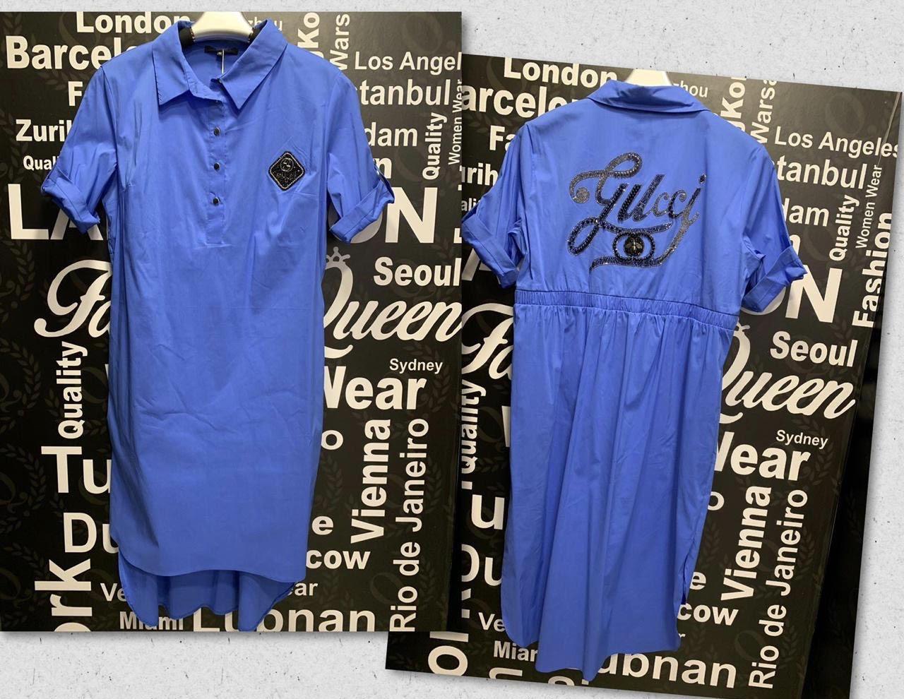 Платье-рубашка со стразами в стиле Gucci Батальная серия! синее
