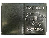 Обложка Антрацит для паспорта с тиснением карты Украины