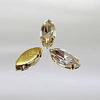 Cтразы в золотых цапах.Лодочка.7х15мм.Цвет Crystal
