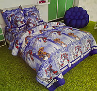 Детская двуспальная постель Трансформеры. Комплект детского постельного белья. Ткань Бязь, Коттон