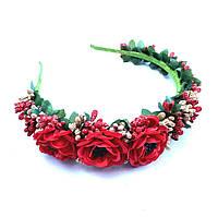 Обруч на чоло з квітів, ягід та бруньок