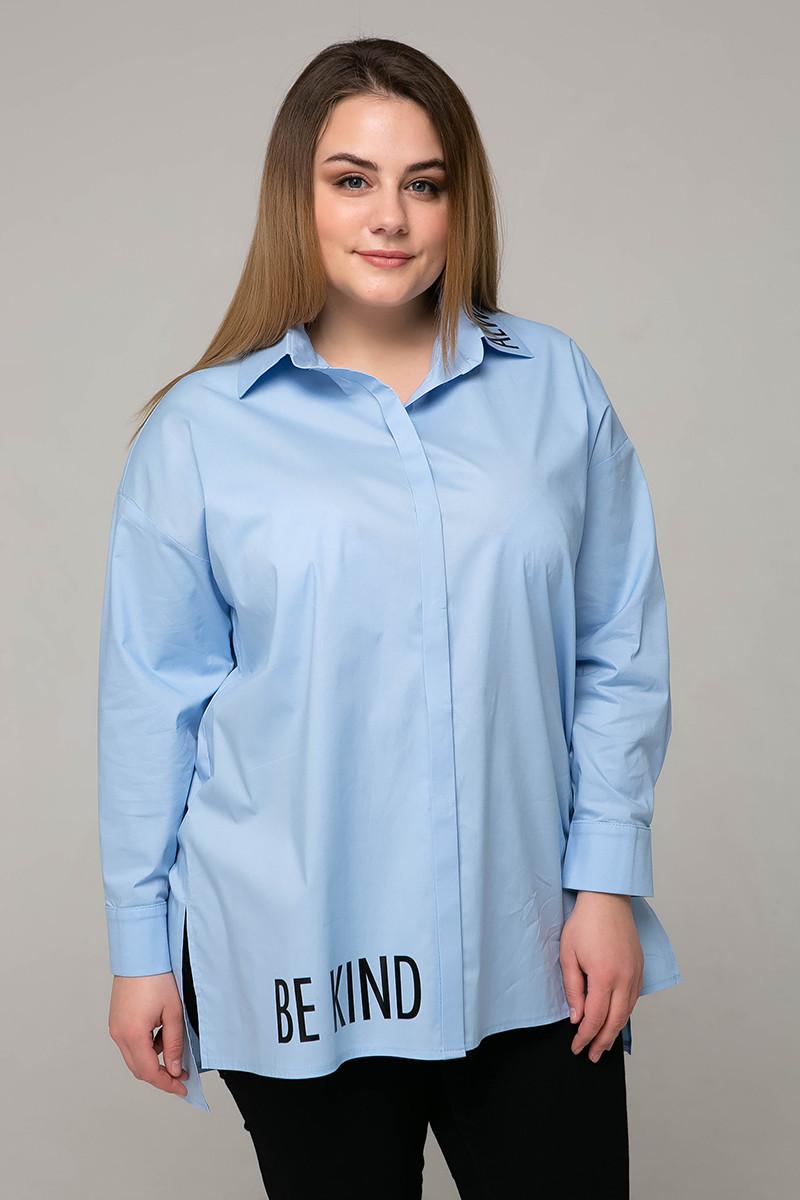 Голубая стильная рубашка для полных женщин Зара