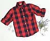 Рубашка на девочку, р. 128-152, клетка, красный+черный
