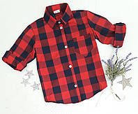 Рубашка на девочку, р. 128-152, клетка, красный+черный, фото 1