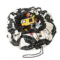 Детский игровой коврик-мешок для игрушек 2в1 Гоночный автотрек, крафт-пакет в подарок - 143023