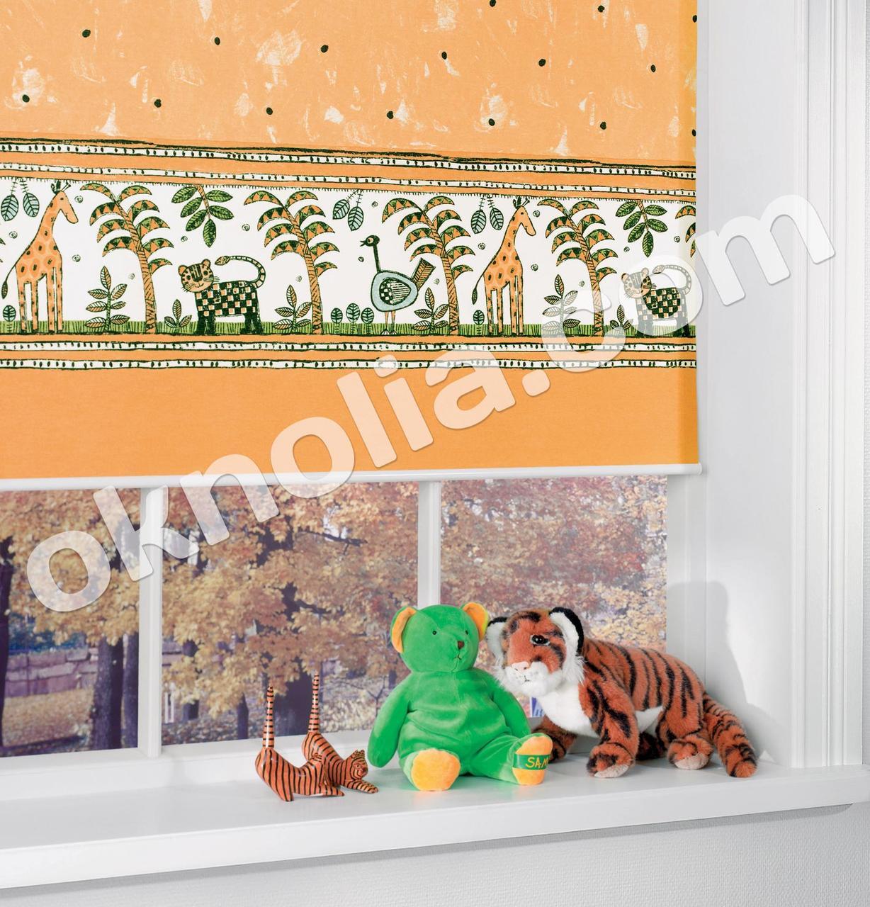 Ролеты тканевые на окна, жалюзи, рулонная штора Аркен 4002 оранжевый, 40*160 см