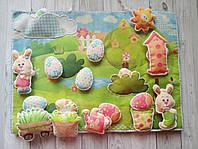 """Пасхальный развивающий коврик ручной работы из фетра """"Зайцы"""""""