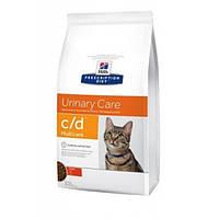 Hills PD Feline C/D Multicare лечебный корм для профилактики мочекаменных болезней у кошек, с курицей 0,4 кг
