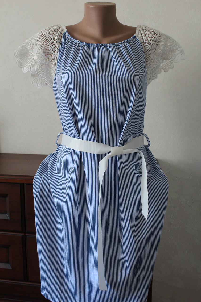 601f571baeb Платье полоска с кружевными рукавами - Elenka - женская одежда оптом  юбки  и сарафаны женские