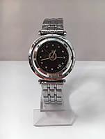 Женские наручные часы Pandora (Пандора), корпус серебристый хром с черным циферблатом