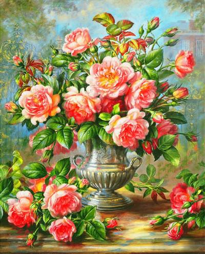 "Алмазная вышивка с багетом 50х40см - набор ""Нежные розы"""