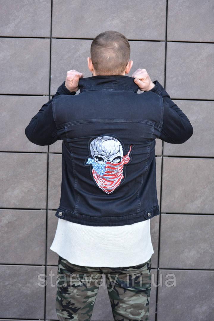 Джинсовка череп логотип вышит | джинсовая куртка