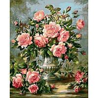 """Алмазная вышивка 50х40см на подрамнике (с рамой) - набор """"Розы в серебряной вазе"""""""