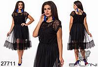 Изящная двойка из трикотажного платья и комбинации с французским кружевом с 48 по 58 размер, фото 1