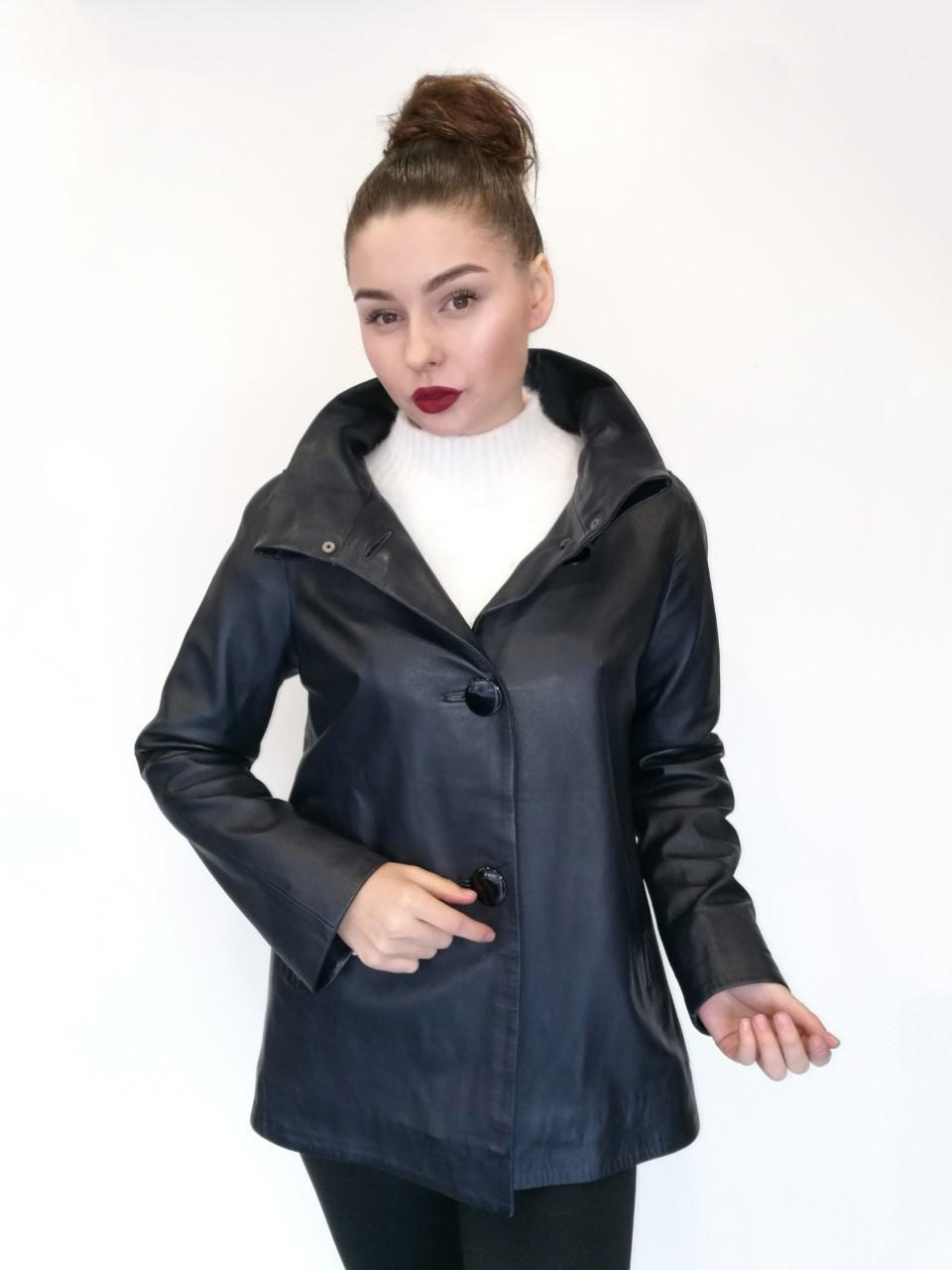 Куртка кожаная Oscar Fur 421 Темно-синий