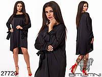 Свободное шелковое платье с удлиненной спинкой и завязками на рукавах с 48 по 58 размер, фото 1