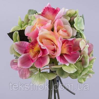 Букет роза,гортензия.орхидея розовый  27 см Цветы искусственные