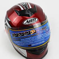 Шлем закрытый АТ-906 - КРАСНЫЙ с рисунком черно-белым + воротник, фото 1