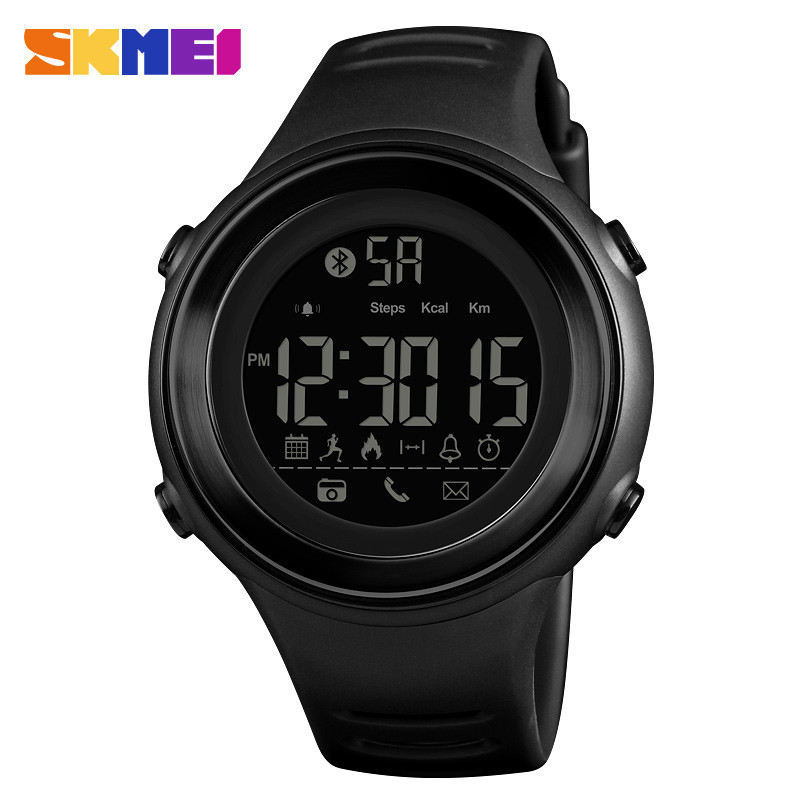 Skmei 1396 черные с черным циферблатом спортивные смарт часы