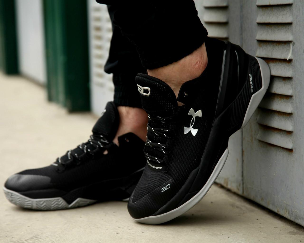 Мужские кроссовки Under Armour Curry 2 Low Essential, черные кроссовки Андер Армор