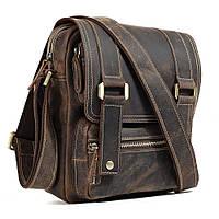 b82b0c0d6206 Винтажная мужская наплечная сумка из натуральной коричневой кожи высокого  качества от Tiding Bag BS-1172