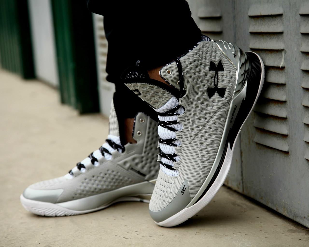 Мужские кроссовки Under Armour 3C CURRY 1 Silver, высокие серые кроссовки Андер Армор