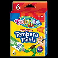 Краски темперные Colorino 12 мл 6 цветов  яркие сочные оттенки легко смываются быстро сохнут