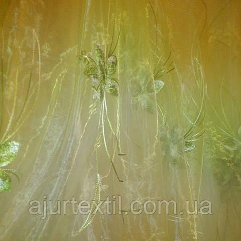 """Тюль органза """"Хризолит"""" зеленый"""
