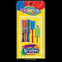 Кисти синтетические Creative со спонжами  в блистере , 6 шт. - 3 кисти, 3 спонжа Colorino Creative