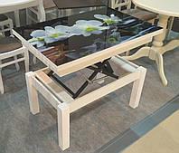 Стол трансформер Флай  белый  со стеклом 16_320, журнально-обеденный