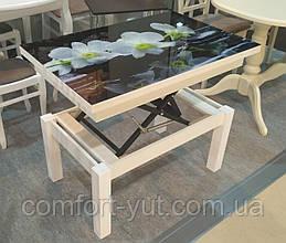 Стол трансформер Флай  белый  со стеклом 16_320, журнальный обеденный