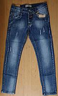 Голубые рваные подростковые джинсы с потертостями для мальчика, р.146
