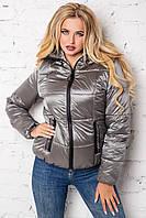 Модная короткая женская куртка весна осень 42-54 размера стальная, фото 1