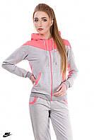 Весенний трикотажный спортивный костюм женский (серый розовый)