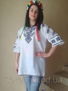 """Вышиванка , женская , белая , короткий рукав , домотканное полотно , узор  """"Берегиня"""""""