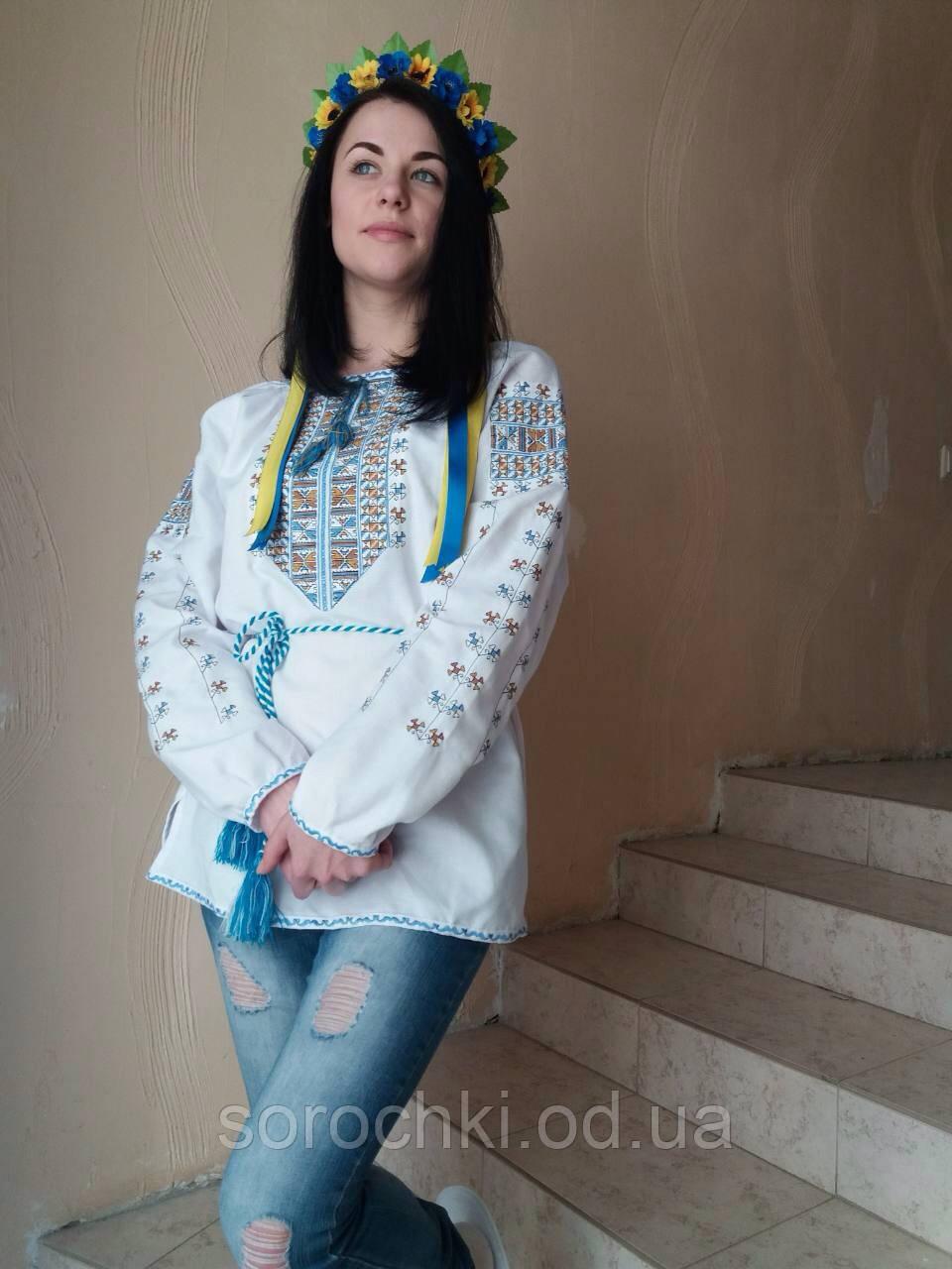 """Сорочка женская ,белая, вышивка трехцветная или красная """"полуботок"""" домотканная ткань"""