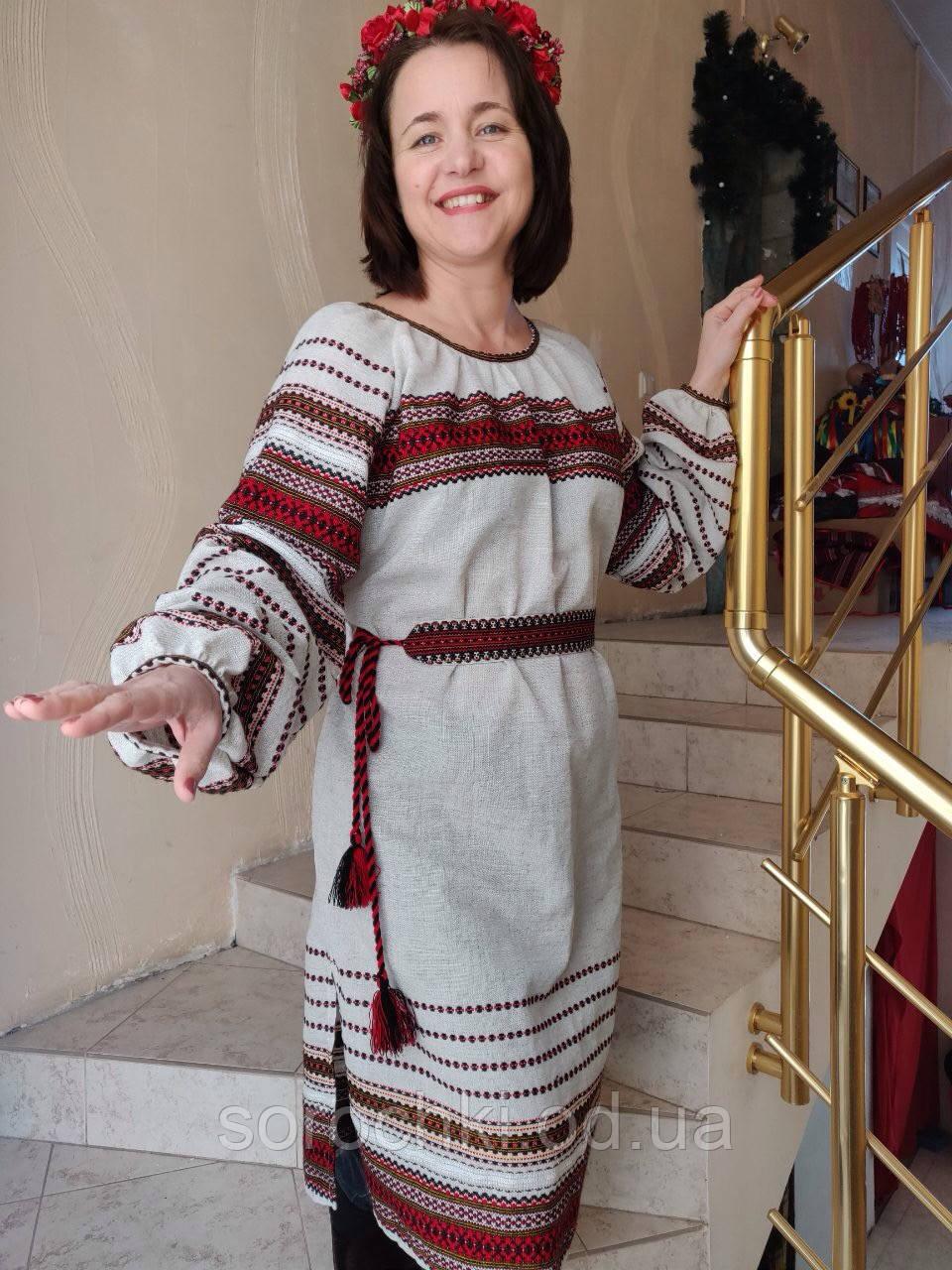 Платье , вышиванка , рукав длинный , реглан , ручная работа , лен , бежевый