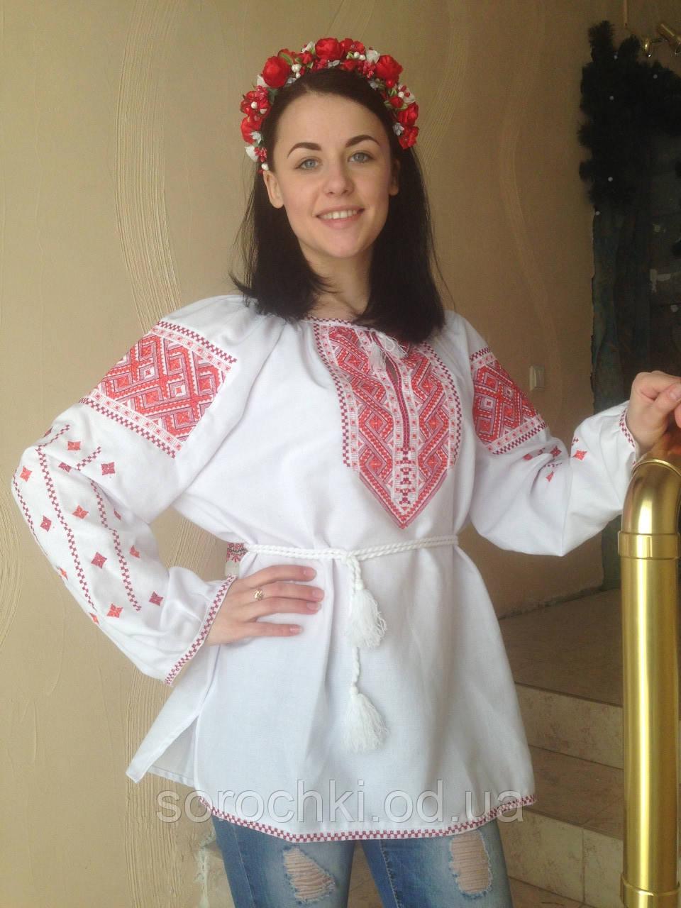 """Вышиванка женская белая, домотканное полотно, вышивка """" Бесконечник"""" красная"""