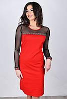 Нарядное красное платье с прозрачным черным верхом и рукавами из сеточки, фото 1