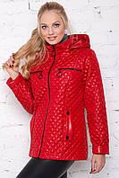 Жіноча лакована куртка весна осінь великого розміру 50-60 розміру червона, фото 1