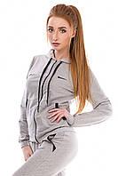 Демисезонный трикотажный спортивный костюм женский (серый)