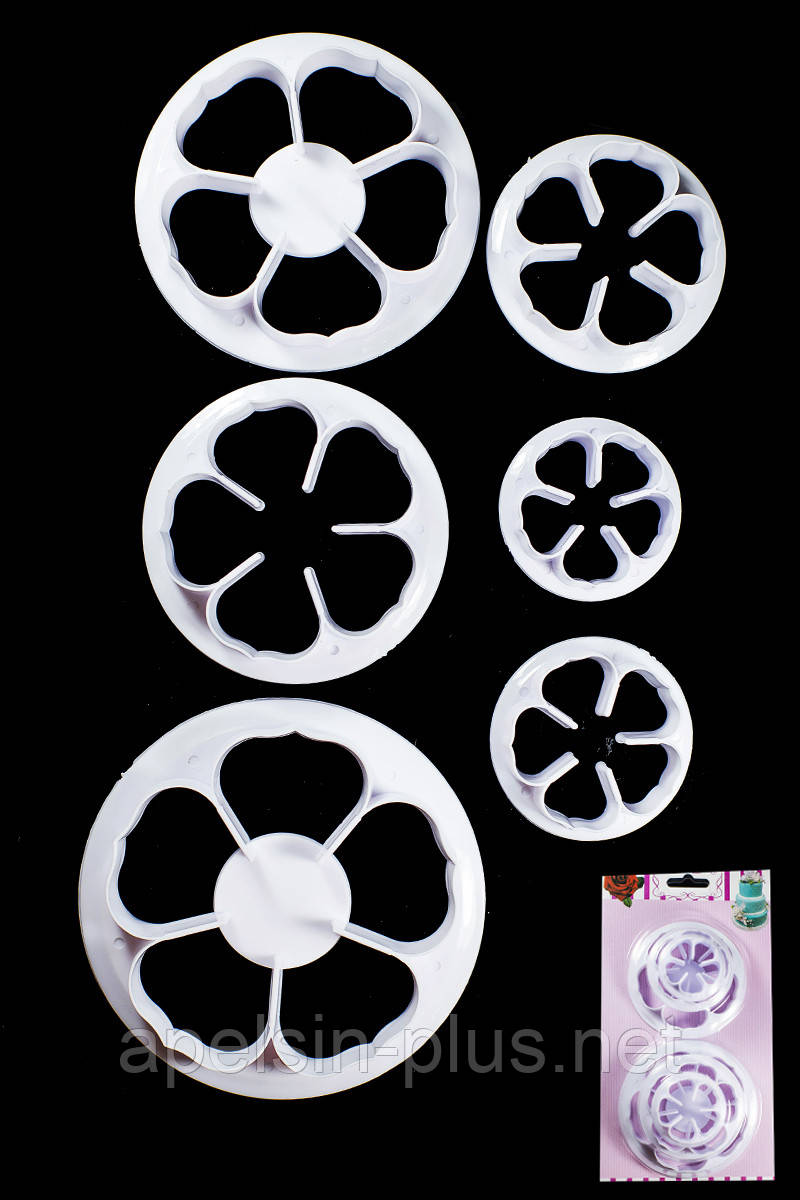 """Вырубка для мастики и теста """"Цветок-пятилистник"""" набор из 6 форм ( от 3,5 см до 8,0 см)"""