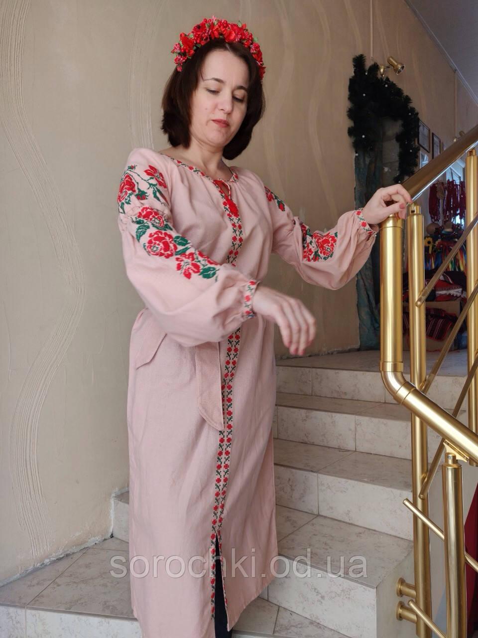 Платье женское ,длинное , розовое с вышивкой , домотканная ткань