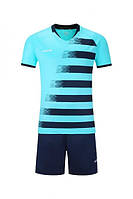 Футбольная форма Europaw с коротким рукавом, бирюзово-синяя, фото 1