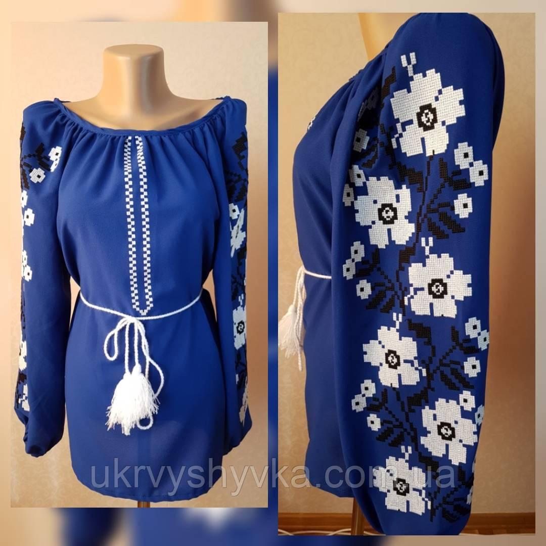 """Шифонова блуза """"Літня"""" синя"""